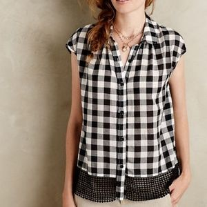 Anthropologie Holding Horses Checkered Blouse
